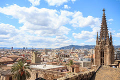 The top of Barcelona Cathedral stock photo