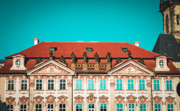 Top of beautiful house in Europe, Prague. Nice architecture of Europe, old house with statues Royalty Free Stock Photos