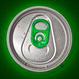 Top of beer can on a green background Stock Images