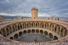 On top of Bellver Castle, Mallorca. Wide angle view of top of Bellver Castle in Majorca Royalty Free Stock Photography