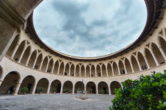 Top of Bellver Castle, Mallorca. Wide angle view of top of Bellver Castle in Majorca Royalty Free Stock Images