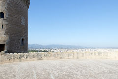 On top of Bellver Castle, Palma de Mallorca. Bellver Castle is a Gothic style castle on a hill of Palma on the Island of Majorca, Balearic Islands, Spain. It was Stock Photo