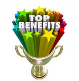 Top Benefits Gold Trophy Award Best Fringe Bonus Compensation Stock Images