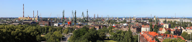 Antennen beskådar av Gdansk royaltyfri foto