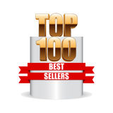Top 100 best sellers. Isolated pedestal. Vector best sellers illustration Royalty Free Stock Photography