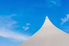 The top of big canvas event tent under the beautiful clear blue Royalty Free Stock Photos