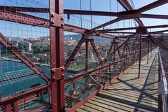 On top of the Bizkaia suspension bridge Stock Images