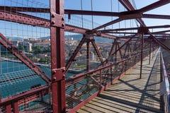 On top of the Bizkaia suspension bridge Stock Images