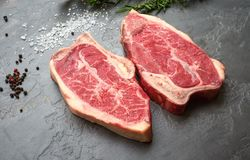 Top blade steak dry-aged on stone background