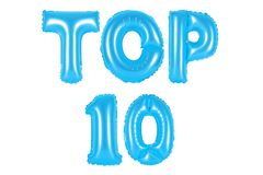 Top 10, blauwe kleur Stock Foto