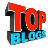 Top blogs. Word on white background, concept of best websites and blogs royalty free illustration