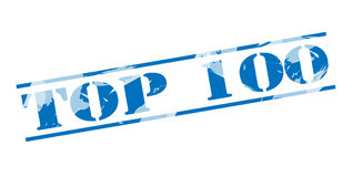 Top 100 blue stamp. Isolated on white background Stock Image