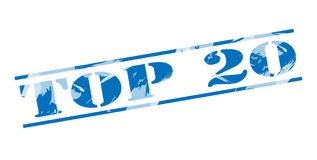 Top 20 blue stamp. Isolated on white background Royalty Free Stock Photo