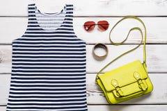 Top, bolsos y accesorios del mar del verano para las mujeres Imágenes de archivo libres de regalías