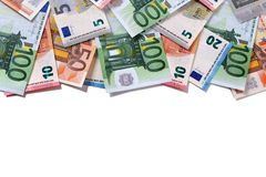 Top border Euro money notes white background Stock Photos