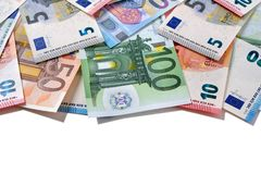 Top border Euro money notes  white copy space Royalty Free Stock Image