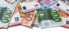 Top border Euro money notes  on white Royalty Free Stock Photo