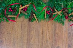 A top border of greenery with pine cones, cinnamon sticks, green ornaments, red berry clusters, and red ribbon. A top border of white pine, tamarack, and spruce stock images