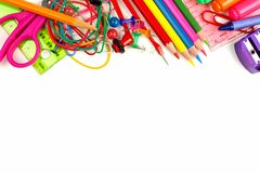Top border of school supplies over white Stock Photography
