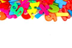 Top border of toy magnetic letters Royalty Free Stock Photography