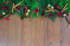 A top border of greenery with pine cones, green ornaments, cinnamon sticks, red berry clusters, and red ribbon. A top border of white pine, tamarack, and spruce royalty free stock photography