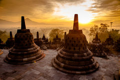 Top Borobudur Temple in Yogyakarta, Java. Royalty Free Stock Photos