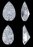 Top, bottom and side views of pear diamond. Over black, Extralarge resolution. Other gems are in my portfolio Stock Image