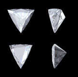Top, bottom and side views of trillion diamond Royalty Free Stock Images