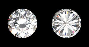 Top and bottom view of large diamond Stock Photos