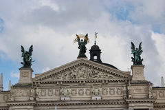 Top of the building of opera-house in Lvov Stock Photography