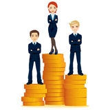 Top Business Woman. Successful business woman standing on top of gold coins stack podium with two businessmen partners Stock Images