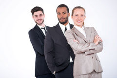 Top businessmen. Three successful and smiling businessmen standi Royalty Free Stock Image