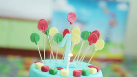 Top of the cake on a children's birthday party stock video footage