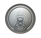 Top of can. Top of closed aluminiun can for beverages. Isolation on white Royalty Free Stock Photography