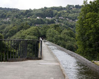 On top of the canal on the pontcysllte aquaduct in Wales Royalty Free Stock Image