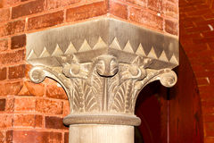 Top (capital) of interior column in the Georgetown University hall. Stock Images