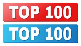 TOP 100 Caption on Blue and Red Rectangle Buttons. TOP 100 text on rounded rectangle buttons. Designed with white title with shadow and blue and red button Stock Illustration
