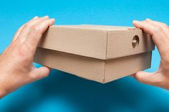 Top cardboard box, delivery package. Brown carton shipping.  royalty free stock photo