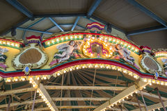Top of a caroussel. A colorful carousel as part of a merry-go-around for children at entertainment area Royalty Free Stock Photo