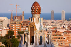 Top of the Casa del Guarda in Park Guell Stock Images