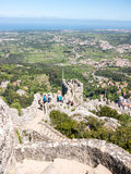 From the Top of the Castle. View of the ocean and the surroundings of the city of Sintra from the castle of the moors Royalty Free Stock Photography