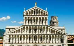 The top of the cathedral and the leaning tower of Pisa Royalty Free Stock Photo