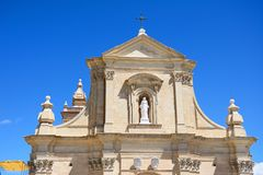 Top of the Cathedral, Victoria, Gozo. Front view of the Cathedral within the citadel in Cathedral Square, Victoria Rabat, Gozo, Malta, Europe Royalty Free Stock Photo
