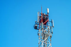 Top of cellular radio tower Royalty Free Stock Photo
