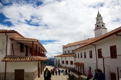 On top of Cerro de Monserrate. BOGOTA, COLOMBIA - MAY 05, 2014: The Cerro de Monserrate is a mountain that dominates the city center of Bogota, the capital city Royalty Free Stock Image