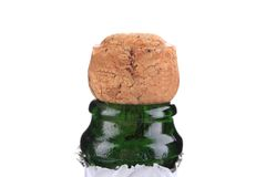 Top of champagne bottle with cork. Royalty Free Stock Photos
