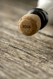 Top of the champagne bottle with 2016 sign on the cork Royalty Free Stock Photo