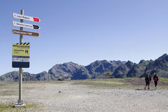 On top. CHAMROUSSE, FRANCE, August 8, 2016 : Hikers and direction signs on the top of Chamrousse mountain range Royalty Free Stock Images