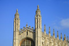 TOP of Chapel in King`s College in Cambridge University Royalty Free Stock Photography