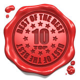 Top 10 in Charts - Stamp on Red Wax Seal. Royalty Free Stock Images